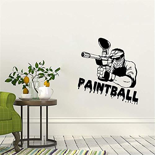 Wandtattoo Kinderzimmer Wandaufkleber Schlafzimmer Paintball-Spieler-Silhouette-Sport-GYM-Sport-Dekor-Home-Design-Dekor