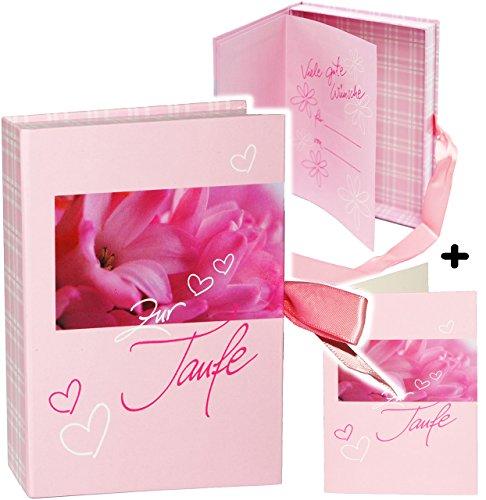 """Schatzkästchen / Geschenkbox / Fotobox - """" zur Taufe - rosa """" __ incl. Karte / Geschenkkästchen / Erinnerungsbox - Verpackung - Glückwunschkarte - Buch Baby - für Kinder - Babys / Mädchen - Erinnerung - Neugeborene / zur Geburt / Erinnerungsalbum - Erinnerungsbuch - selber / selbstgestalten - Taufkarte / Taufbox - Erinnerungen Box Kästchen / Kiste - Geschenkschachtel - Sammelbox zum Aufbewahren - Geschenkverpackung - Täufling"""