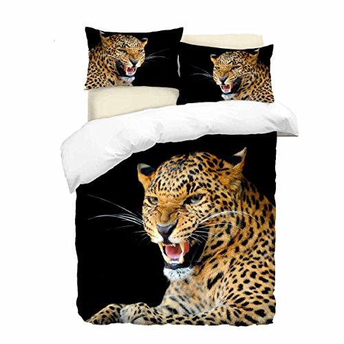 Adam Home 3D Digital Printing Bett Leinen Bettwäsche-Set Bettbezug + 2x Kissenbezug - Roaring Leopard (Alle Größen)