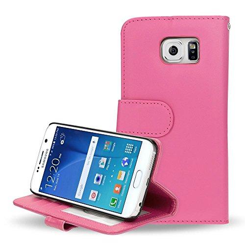 Samsung Galaxy S6 Hülle Klapphülle von NICA, Slim Flip-Case Kunst-Leder Vegan, Phone Etui Schutzhülle Book-Case, Dünne Vorne Hinten Handy-Tasche Wallet Bumper für Samsung S6 Smartphone - Pink