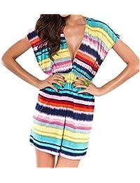 Ladies Women Beach dress Kaftan Sarong Summer dress Fashion Rainbow Cover up Swimwear Bikini Cover