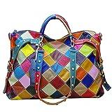 LXYIUN Lederhandtasche,Persönlichkeit Hohe Kapazität Farbabstimmung Gezeitenbeutel Schultertaschen,Colorful