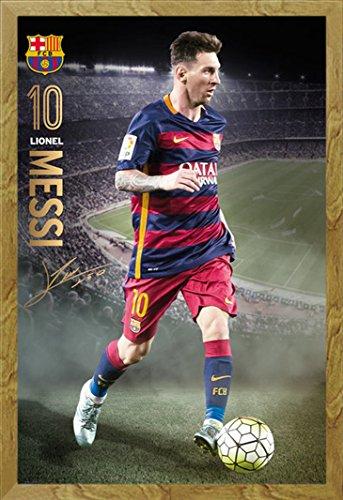 F.C. Barcellona Poster Messi Action 15/16+ Accessori [lingua tedesca], MDF-Frame oak, 61 x 91,5 (Oak Poster)