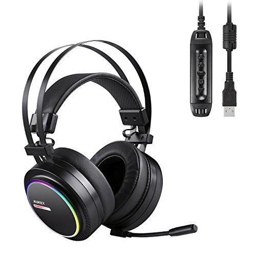 Aukey pc gaming headset mit mikrofon, usb stereo gaming kopfhörer mit virtuellem 7.1 surround sound und rgb led-effekten wired over-ear headset für pc und ps4 (schwarz)