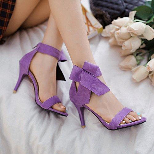 YE Damen Offene Peep Toe 9cm Absatz High Heels Riemchen Wildleder Nubukleder Sandalen mit Schleife Sommer Schuhe Lila