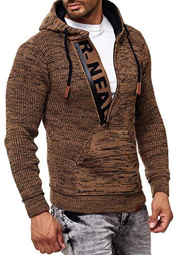 Rusty Neal Herren Strick-Pullover Strickjacke mit Kapuze Gr. S bis 4XL RN-13277, Größe:XL, Farbe:Camel/Marine