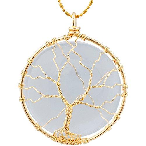 KYEYGWO Baum des Lebens Stein Anhänger Halskette für Unisex, Wire Wrap Runder Anhänger mit Kette 22
