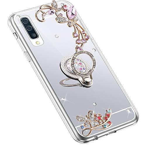 Uposao Kompatibel mit Samsung Galaxy A70 Hülle Glitzer Spiegel TPU Schutzhülle Bling Strass Diamant Silikon Hülle Glänzend Kristall Blumen Silikon Handyhülle mit Ring Ständer Halter,Silber