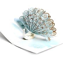 Papier Spiritz Paon 3d Happy Père carte de fête faite à la main Pop Up Cartes d'anniversaire pour elle Lui Wife enfants Origami faite à la main cadeau de mariage personnalisé carte avec enveloppe
