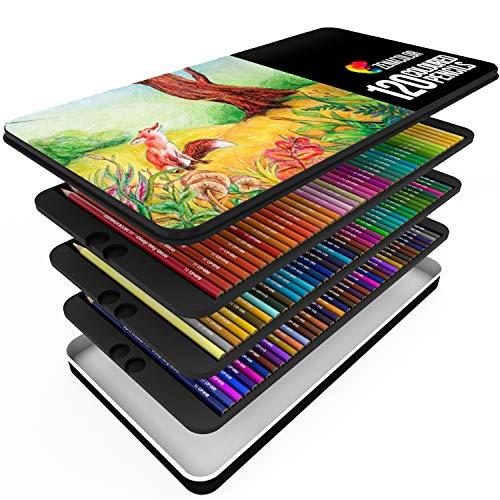 120 Buntstifte mit Metallbox von Zenacolor - 120 einzigartige Farben - Leichter Zugang mit 3 Fächern - Professionelle Risiko