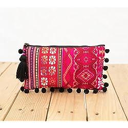 VLiving Color rosa Dobby Tejido, acrílico embrague, cremallera monedero, maquillaje o cosméticos bolsa, bolsa de utilidad, Boho Bolso