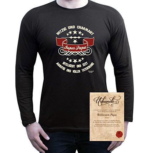 Herren Langarm-Fun-T-Shirt Sweatshirt Pullover Aufdruck Motiv: Super Papa Geschenk Idee mit Spass-Urkunde Farbe: schwarz Schwarz