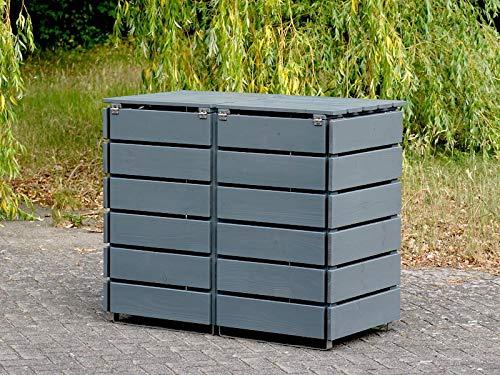 2er Mülltonnenbox / Mülltonnenverkleidung 120 L Holz, Deckend Geölt Tannengrün - 4