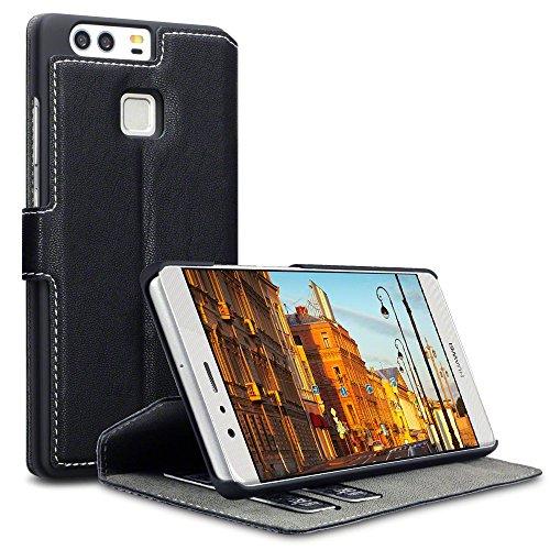 Huawei P9 Case, Terrapin Leder Tasche Case Hülle im Bookstyle mit Standfunktion Kartenfächer für Huawei P9 Hülle Schwarz