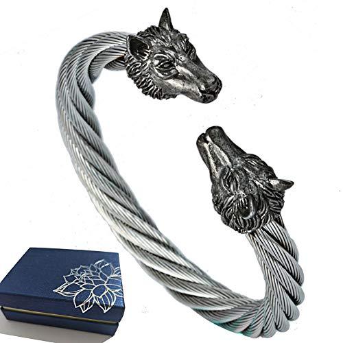 BBYaki Vintage Gestrickte Herren Armband, Wikinger Wolf Kopf Hund Armband Nordische Mythologie Titan Stahl, Geburtstagsgeschenk,A
