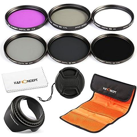 K&F Concept® 77mm Filtro de Cámara 6piezas FLD CPL+UV ND2 ND4 ND8 Filtro Kit de Accesorios para Canon 6D 5D Mark II 5D Mark III para Nikon D610 D700 D800 DSLR Cámaras + Paño de Limpieza de Microfibra + Capucha de Pétalo de Lentes + Centro Pinch Tapa del objetivo + Bolsa de