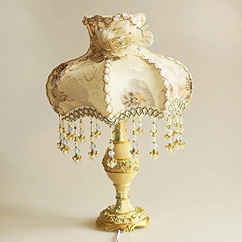 SKC LIGHTING Lampe en tissu de style européen Chambre à coucher Chambre à coucher lampe de chevet Lampes de comptoir Rétro lampe de palais de luxe Résine sculpture atténuation