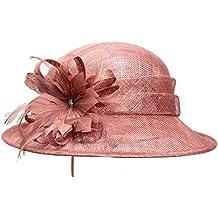 Nvfshreu Sombreros Sombrero De Campana Fiesta Formal Señoras Elegante  Sombrero Iglesia Estilo Simple Moda Vintage Estilo f1bc2c9821f