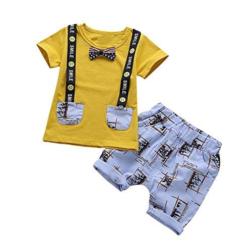 2018 nuovi bambini ❤️❤ cartoon letter smile maglietta stampata tops + pantaloncini pantaloni ❤️❤ 2 pc abiti abbigliamento set per neonato baby -culater® (0-12 mesi, giallo)