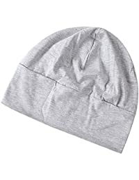 Phenovo Adult Unisex All Cotton Night Cap Sleep Eyecover Fashion Headcap Light Grey