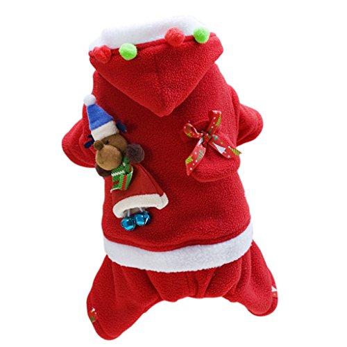 Baoblaze Haustier Weihnachtsmann Weihnachten Kostüm Winterjacke Pullover Hundejacke Hoodie Mantel - Rot - weiblich L (Weibliche Santa Claus Kostüme)