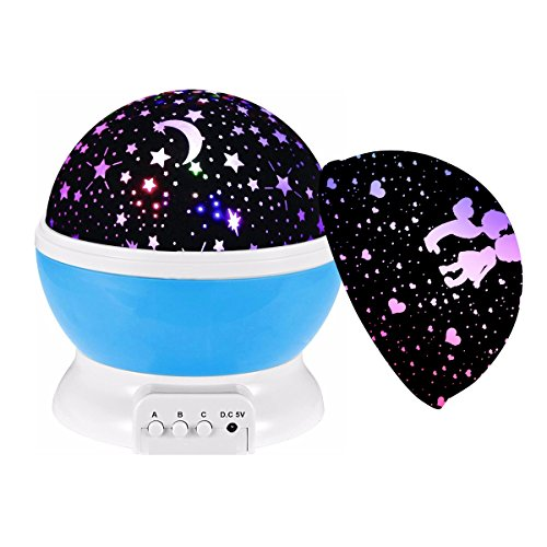 Lampada Proiettore Stelle 360 gradi Romantic Rotante Lampada di Illuminazione Notturna Luce Decorazione Notturna 2 (Luna 2 Luce)