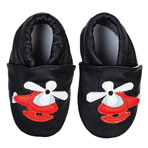 SmileBaby Premium Lauflernschuhe Krabbelschuhe Babyschuhe Baby Schuhe Blau Helikopter 12 bis 18 Monate (Blau Baby-schuh)