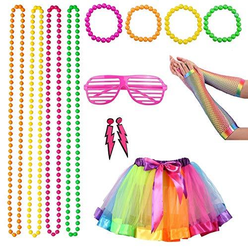 1980er Kinder Jahre Kostüm - 80er Jahre Kostüm für Damen Erwachsene, 1980er Jahre Neon Kostümzubehör Schmuck mit Ohrringen Armbänder Perlenketten Große Rockhandschuhe Set für coole 80er Jahre Party, bunt