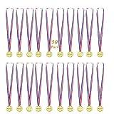SAIYU Medaglie per bambini 50 pezzi medaglie d'oro in plastica per la giornata sportiva, festa, competizione, giochi di gioco per bambini