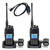 Retevis RT3S DMR Digitales Funkgeräte 136-174/400-480MHz 3000 Kanäle GPS Dualband Amateurfunk Digitales/Analoges Funkgerät TDMA Kompatibel mit MOTOTRBO DMR Radio mit Programmierkabel (1 Paar, Schwarz)