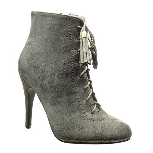 Angkorly - Chaussure Mode Bottine low boots sexy femme pom-pom frange lacets Talon haut aiguille 10.5 CM Gris