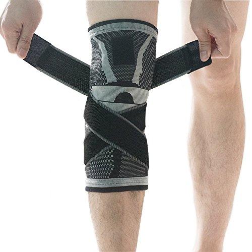 U-pick Rodillera, rodillera de compresión funda con antideslizante ajustable correa de presión, rodilla Protector Rótula alivio del dolor artritis y lesiones recovery- único, gris, M