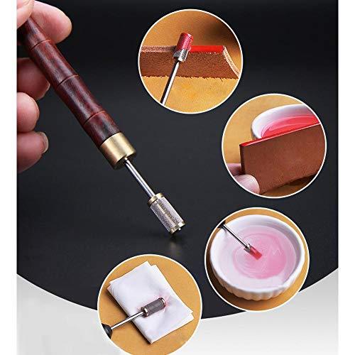 Blue-Yan DIY Lederhandwerk Rand Ölbehandlung Werkzeug Mit Sandelholz Griff, Doppellager TIPP Roller Stift Brieftasche Rand Leder Ölgemälde Zubehör Werkzeug