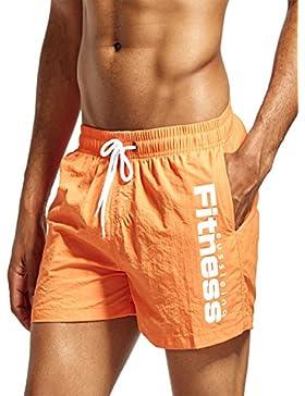 DULEE - Pantalones Cortos de Verano para Hombre, Secado Rápido, para Natación, Large, Anaranjado
