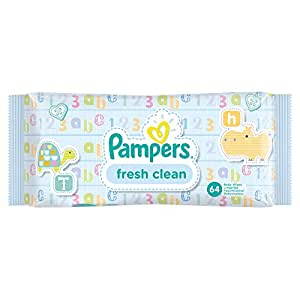 Pampers Fresh Clean Baby Wipes, Pack of 12 - 768 Wipes