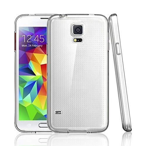 NEW'C Hülle für Samsung Galaxy S5 [Ultra transparent Silikon Gel TPU Soft] Cover Case Schutzhülle Kratzfeste mit Schock Absorption und Anti Scratch kompatibel Samsung Galaxy S5 Mini (Fall S5 Gel Samsung Galaxy)