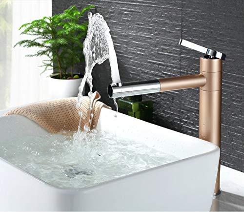 JONTON Waschbecken heißes und kaltes Wasser Wasserhahn Gold 360 drehbare Becken hohen Fuß Wasserhahn Hardware Badzubehör Farbe