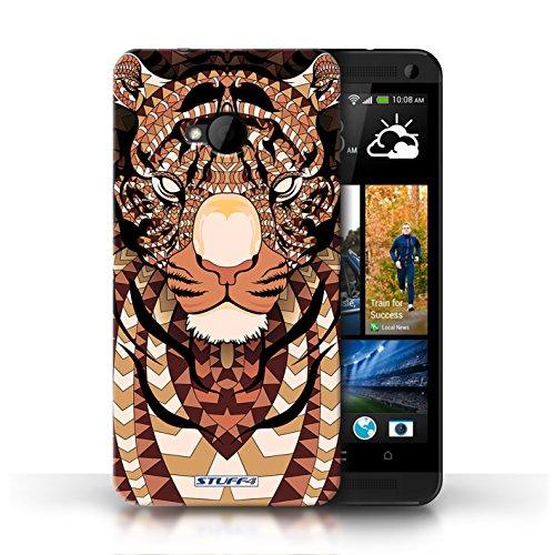 Coque de Stuff4 / Coque pour HTC One/1 M7 / Loup-Bleu Design / Motif Animaux Aztec Collection Tigre-Orange