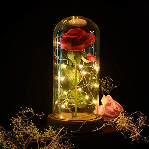 Shirylzee Rose Glas Licht Rose im Glas Glaskuppel Künstlich Rose Lampe EIN Holzsockel LED-Licht der Rose Haus Dekoration Geschenk zum Valentinstag Muttertag Jubiläum Geburtstag Hochzeit (Rot)