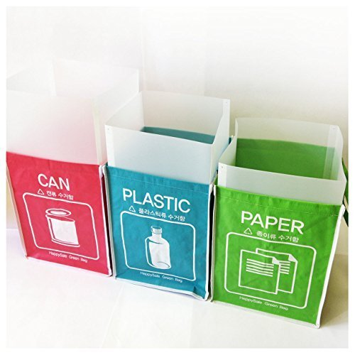 Recycle Bin Separate Recycle Bag Waste Baskets Compartment Container with Inner Frame (3 Bins + 3 Inner Frames) by Happy Sale Inner Bins