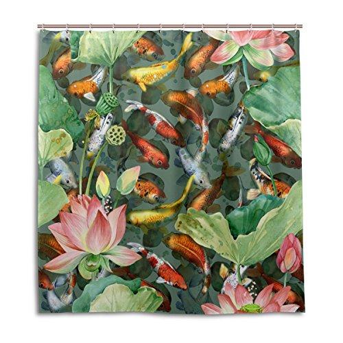 Mit Klare Duschvorhang Fisch (mydaily Koi carps Fisch Blume Watercolor Duschvorhang 167,6x 182,9cm, schimmelresistent & Wasserdicht Polyester Dekoration Badezimmer Vorhang)
