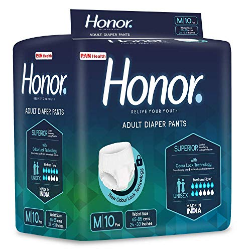 Honor Adult Diaper Pants, Medium - 10 Count (61-115 Cms |24-45 Inches)