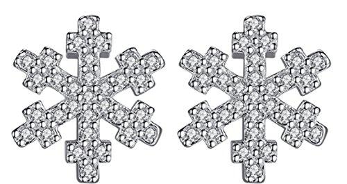 SaySure - 925 Sterling Silver Snowflake Crystal Cross Stud Earrings -