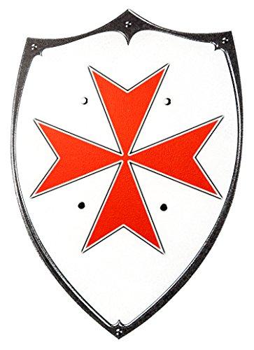 Ritter-Schild Holz Kinder Ritterkreuz-Motiv mit Griff-Schlaufen 48cm x 35cm Holz-Spielzeug Ritter-Schutz Rüstung Rot Weiß Schwarz Mittelalter