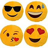 Frantic Premium Quality Cool Dude, Happy, Flying Kiss And Heary Eyes Soft Smiley Cushion Size - 35 Set Of 4
