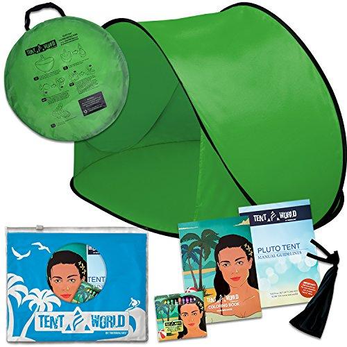 Zurück Assembly (Pluto Strandmuschel Grün: Schützen Sie Ihre Kinder in jedem Wetter! Pop-Up Strandmuschel für Babys, perfekt für Reisen, Strandurlaub, Picknick im Park und Veranstaltungen im Freien. Inkl. Malbuch.)