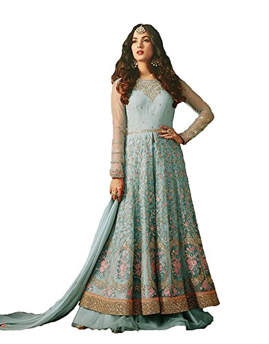 Mordenfab Sky Colour Semi Stitched Embroidered Work Heavy Anarkali Suits for Women for Party Wedding Wear/Anarkali Suits/Dress Material