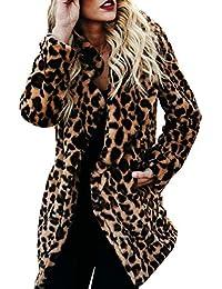 EUZeo Mujeres Abrigo de Invierno Manga Larga Estampado de Leopardo Chaqueta  Largo Blusas de Shaggy Faux 97a777dd5dc5