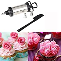 Stainless Steel Cake Decoration Icing tool, Nozzles, Pastry Icing Piping Syringe Gun Set with 4 Nozzles + 1 Silicone Spatula