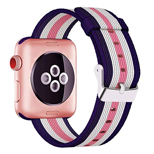 HILIMNY For Apple Watch Strap 42MM, Stainless Steel Buckle iWatch Strap, for 3 Series, 2 Series, 1 Series, Nike +, Edition, Hermes, Dark Blue White Light Pink (Stripes), 42MM